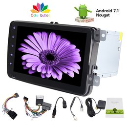 Wholesale vw 12v - 8'' Autoradio Double Din Car Stereo Android 7.1 Car Radio HeadUnit for VW GPS Navigator Phone Link Bluetooth FM AM RDS Radio
