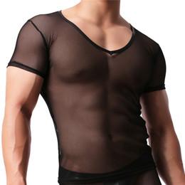 2069707f98170 Malla para hombre camiseta transparente Malla atractiva Ver a través de Tops  Tees Hombre Tight Singlet Gay Fajas masculinas Básico Negro Camiseta  camisas ...