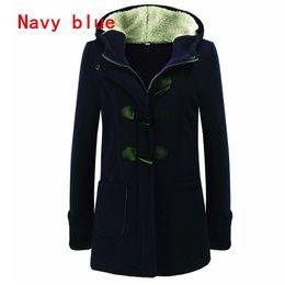 Wholesale Women Winter Pea Coat - A Winter Warm Womens Claw Clasp Wool Blended Classic Pea Coat Jacket (S-XXXXL,Black,Grey,Dark Grey,Coffee)