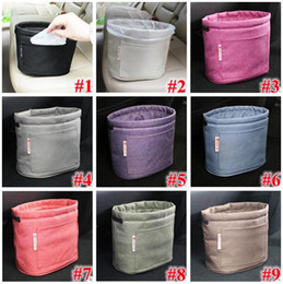 Wholesale Garbage Bins - 9 Colors Oxford Rubbish Organizers Storage Bag Mini Garbage Bin Dust Case Holder Box for Home Car Recycling Containers Bag
