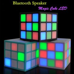 Wholesale Magic Cards Flash - Bluetooth Mini Speaker Magic Cube Design Colorful 36 LED Flash Wireless Portable Super Bass Sound Subwoofer Handsfree for iPhone Tablet PC