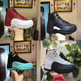 Wholesale Air Fibre - With Box Air Retro 12 OVO White Gold Drake Black Mens Basketball Sneakers Retro 12s For Sports Shoes Real Carbon Fibre