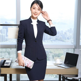 Wholesale Skirts For Work - Fall Winter Formal Uniform Designs 2 Piece Tops And Skirt For Ladies Work Wear Professional Female Blazers & Jackets Sets
