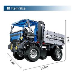 Wholesale Building Blocks Truck - Building Block 638Pcs RC Car Rechargeable Remote Control Dump Truck Building Blocks Kits for Kids