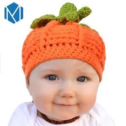 crochet hats for children 2018 - Miya Mona 2018 New Fashion Cute Children Pumpkin Shape Hat Toddler Crochet Beanie Halloween Knitting Hats For Kids Girl's Gift