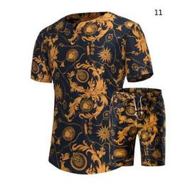 Wholesale hawaiian yellow - Men Shirts & Shorts Set New Summer Casual Printed Hawaiian short-sleeved Shirt men Short Sets Plus Size M-5XL