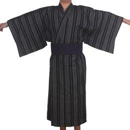 Wholesale kimono traditional dress - Autumn Traditional Japanese Kimono Pajamas Costume with obi Men bathroom spa robe Cotton dressing gown Men Home Loungewear 06250