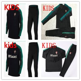 Wholesale kid boys clothes - kids PORTUGAL tracksuit soccer Training suit long pants football training clothes sportswear Brazi Sweater