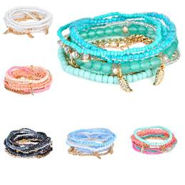 Wholesale girls beaded bracelets - Spring Korean Designer Fashion Bohemia Beads Bracelet crystal Beaded Multilayer Strand Bracelets Bangles For women Girl 320120