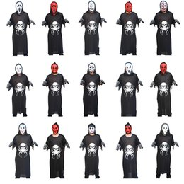 vestiti di mascheratura femminile Sconti 3-Piece Costume di Halloween Spider Bones Ghosts Set per Adulti Ghost Festival Cosplay Suit Maschile Femminile COS (Ghost Clothes + Mask + Gloves)