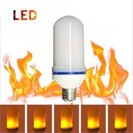Wholesale yellow light bulb vintage - LED Flame Effect Fire Light Bulb E27 E26 LED Flickering Lamp Beads Simulated Decorative Light Atmosphere Lighting Vintage Flaming Upwards