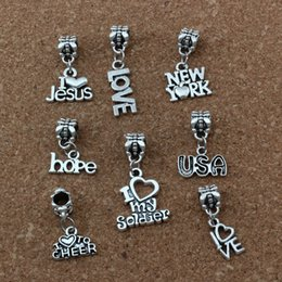 wholesale beads usa Coupons - MIC . 160pcs lot Dangle Antiqued Silver Alloy love .USA Etc.Mixed letters Charm Big Hole Bead Fit Charm Bracelet Jewelry A-182