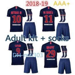 Wholesale Man Uniforms - PSG 2018 2019 Paris Soccer Jerseys uniforms 18 19 neymar jr mbappe home VERRATTI CAVANI DI MARIA MAILLOT DE FOOT survetement Football Shirt