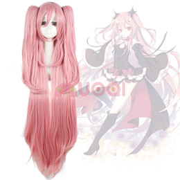 Wholesale Pink Ponytail Wig Long - ePacket free shipping >Seraph Of The End Krul Tepes 2 Ponytails Lolita Long Pink Straight Full Wig