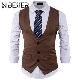 52cdce8d864 NIBESSER 2018 Male New Leisure V-neck Party Dress Vest Black Formal Tops  Stylish Men Spring Slim Fit High-End Business Suit Vest