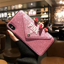 cartões plásticos do iphone Desconto 2018 iphonex design de moda com slot para cartão lateral bolso rosa pó de flash anti-queda phone case para iphone x, iphone 8, 7, 6 além de 20 pcs