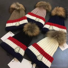Wholesale Church Real - Real mink fox fur Beanies big Pom-pom MON beanie Knitted Caps Men Women Sport Cotton Hats Hight Quality with original tag
