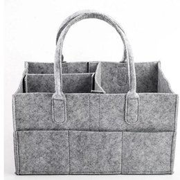 Wholesale girl nappies - Baby Diaper bags Gray infant Diaper Tote Bag Portable Car Travel Organizer Felt Basket newborn Girl Boy nappy Storage bag C4244