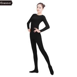 c006be0d2834 Ensnovo Women Lycra Nylon Spandex Unitard Full Bodysuit Zentai Suit Black Dancewear  Bodysuit Catsuit Costume Jumpsuits Playsuits