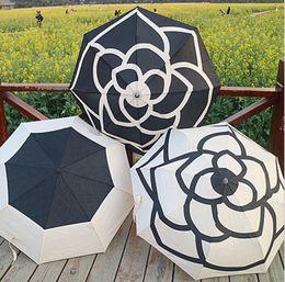 Wholesale luxury gift bags wholesale - Camellia Flower Vip Umbrella Cream 3 Fold Luxury Umbrella Sun Rain Umbrellas With Bag Gift Box OOA4701