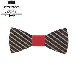 Wholesale Commercial Ties - Rewood Formal Commercial Wooden Bow Tie Striped Marriage Bow Ties For Men Butterfly Cravat Wood Tie