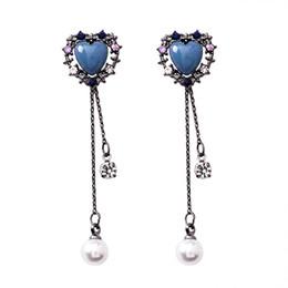 Chaîne de lustre acrylique en Ligne-S925 argent aiguille vintage bleu rose acrylique coeur strass gland boucles d'oreilles pour les femmes dames longue chaîne perle goutte boucles d'oreilles