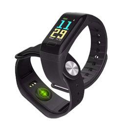bluetooth armbänder armbänder Rabatt F601 F1 Plus 0,96 Zoll Smart Armband Herzfrequenz Smart Uhren Blutdruckmessgerät Fitness Armband Pulsometro Pedometer Smart Armband