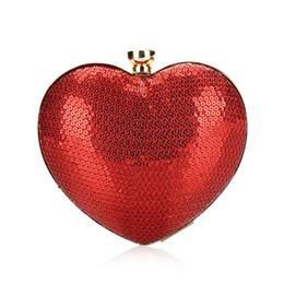 Sacs à main de mariage rouge en Ligne-2017 Rouge Paillettes Coeur design Femmes Soirée sac dames Jour Embrayages mode femme Sac À Main De Mariage Fête Dîner portefeuille bolsa