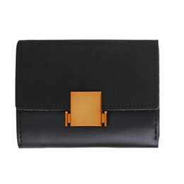 Wholesale coin snap wallet women - Wallets Cute Multi-function Korean Personality Wallet Metal Snap Brushing Stitch Card Pack card holder Buckle puese