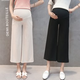 5051dfaccded9 2018 Maternity Summer Ninth Pants for Pregnant Women Cropped Leggings Thin  Belly Capris Beige Black Capris Trousers Wide Leg