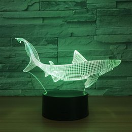 2019 luces de tiburon led Lámpara de ilusión óptica Shark 3D Night Light DC 5V alimentado por USB 5ª batería Al por mayor Dropshipping Shippin gratis luces de tiburon led baratos