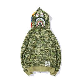 Argentina 18ss Chaquetas de diseño para hombre Un baño HIP HOP Ape Shark Hoodie Todo el cuerpo letras Camo chaqueta con cierre completo Chaqueta cortaviento para hombre mujer Suministro