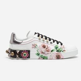 Wholesale Print Borders - PORTOFINO Printed calfskin intarsia sneakers Women fashion Designer Shoes Flats Luxury shoes Size 35-40 Model 262196748