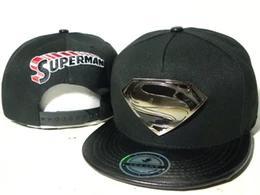 Superman chapéu preto on-line-Homens bonés dos desenhos animados preto superman snapback chapéus Personagem homem super heróis da marvel snapbacks caps bonés de bola ao ar livre