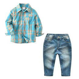 Wholesale 12 Month Boy Jeans - 2018 Spring Boy Clothes Long Sleeve Plaid Boy Tshirt Jeans Pant 2pcs Kids Clothing Set Fashion Boy Tees Outfit