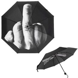Wholesale Finger Fold - Middle Finger Umbrella Rain Windproof Up Yours Umbrella Creative Folding Parasol Fashion Impact Black Umbrella 30pcs OOA4505
