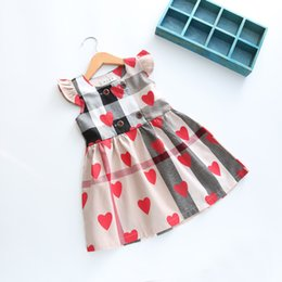 Wholesale Heart Beaded - Summer children Clothes Girls Dresses Puff Sleeveless Cotton Peach Heart Printed Lotus leaf collar Girl's Plaid dress Party Clothing A8365