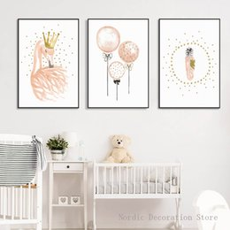 Wholesale Kids Canvas Art - Nordic Poster Cartoon Kids Pink Flamingo Canvas Art Modern Posters Wall Art Canvas Painting Posters And Prints Cuadros Unframed