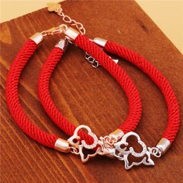 Wholesale Fishing Strings - 2018 new Zodiac dog S925 silver transfer red string bracelet bracelet female dog mascot lucky year of fate
