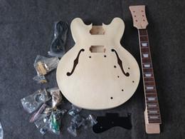 2019 гитарный комплект diy Бесплатные ShippingSemi полые тела Джаз 335 ,Diy электрогитара комплект гитара незаконченный гитара комплект гарантированное качество скидка гитарный комплект diy
