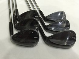 Wholesale Black Shafts - SM6 Wedge Set Jet Black Golf Clubs SM6 Golf Wedges 50 52 54 56 58 60 Degree Steel Shaft With Head Cover