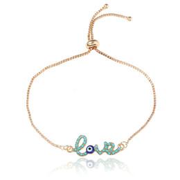 New Simple Love Design Turco oro catena Evil Eye Bracciale Crstal Blue Eye Bracciali in oro per le donne Ragazze Dubai Amore gioielli supplier gold bracelet simple design da braccialetto d'oro disegno semplice fornitori