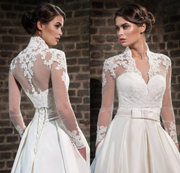 Wholesale Ivory Lace Applique Jacket - Plus Size Lace High Neck Wedding Wraps With Long Sleeves Sheer Bolero Jackets Tulle Bridal Accessories Custom Made