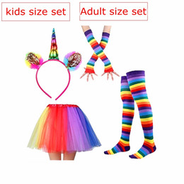 Wholesale baby headbands new - ins New Kids Adult Rainbow Party Socks Leggings & Squins Unicorn Headband & coloful ruffle tutu skirt & kids baby cotton gloves 4pc set