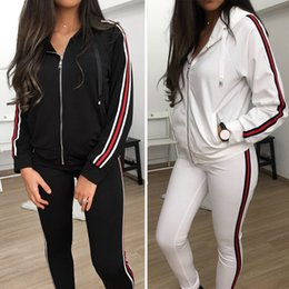 Wholesale Yoga Pants Xs - Women Fashion Zippers Hooded Tops And Skiny Pants Sport Running Workout Yoga Casual Sweat Suits