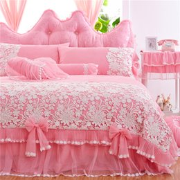 Wholesale Twin Pink Princess Bedding Duvet - Pink Purple Red Luxury Cotton Lace Princess Bedding Set King Queen Twin Size Girls Bed skirt set Duvet Cover Soft Bedclothes