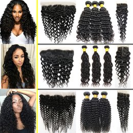 Wholesale mixing water colors - Brazilian Hair Bundles with Frontal Human Hair Kinky Curly,Water Wave,Deep Wave Weaves with Closure Peruvian Indian Malaysian Cambodian Hair