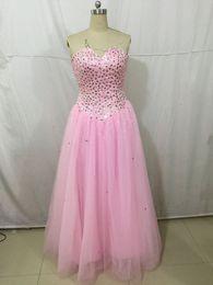 Sweetheart rose perlé Swee 15 robes de Quinceanera femmes paillettes de cristal strass longueur de plancher soirée soirée Prom Dance Runaway robes ? partir de fabricateur