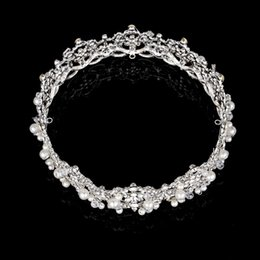 Wholesale Full Pageant Crown Tiaras - full round crown Silver Color Crystal Pearl Pageant Wedding Bride Circle Quinceanera Tiaras Princess Bridal Full Round Crown