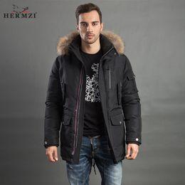 Wholesale Mans Fur Hood - HERMZI 2017 Men Winter Jacket Fashion Coat Parka Thicken Overcoat Detachable Hood Raccoon Fur Collar European Size Free Shipping